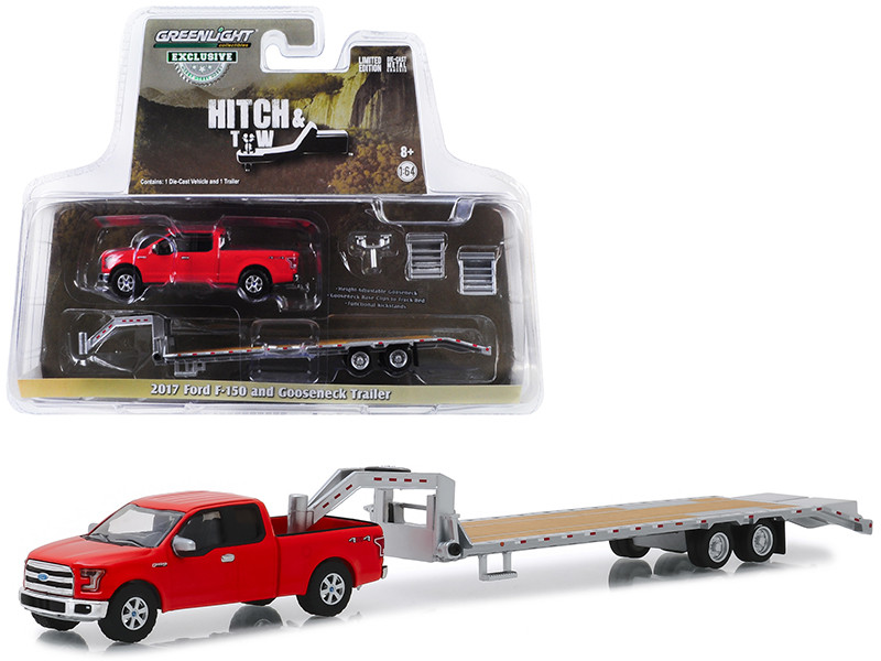2017 Ford F-150 Pickup Truck Red Gooseneck Trailer Hitch & Tow Series 1/64 Diecast Models Greenlight 32151