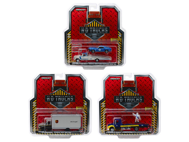 Heavy Duty Trucks Set 3 pieces HD Trucks Series 15 1/64 Diecast Models Greenlight 33150