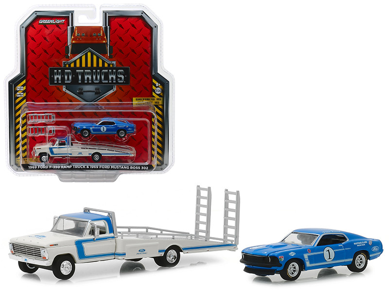 1969 Ford F-350 Ramp Truck Ford Racing White Blue 1969 Ford Mustang Boss 302 #1 Mustang Clubs Racing Team Blue HD Trucks Series 15 1/64 Diecast Model Cars Greenlight 33150 A