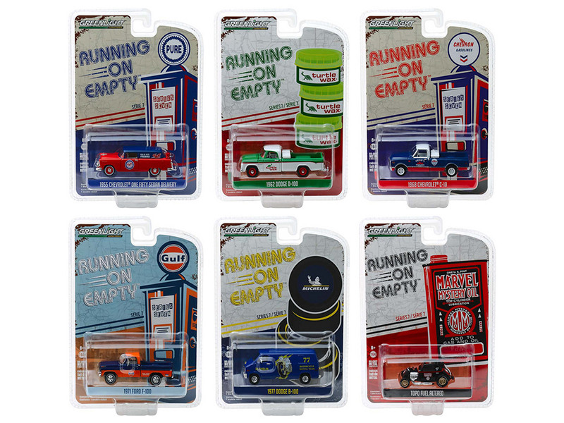 Running on Empty Series 7 Set 6 Cars 1/64 Diecast Model Cars Greenlight 41070