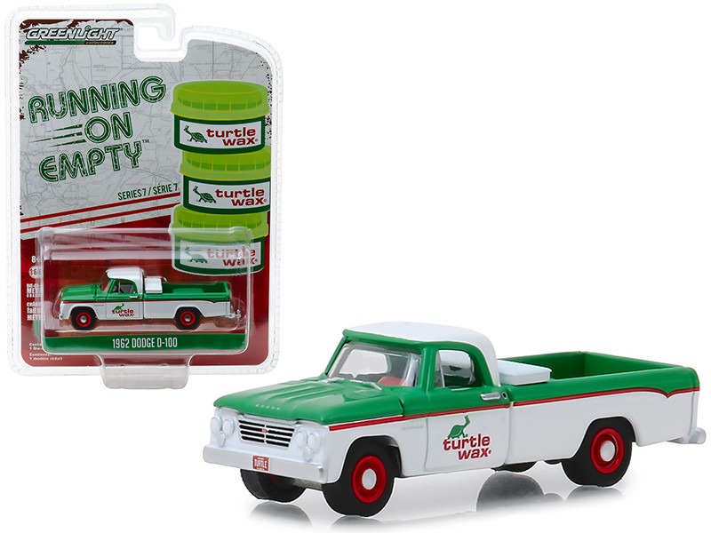 1962 Dodge D-100 Turtle Wax Pickup Truck White Green Running on Empty Series 7 1/64 Diecast Model Car Greenlight 41070 B
