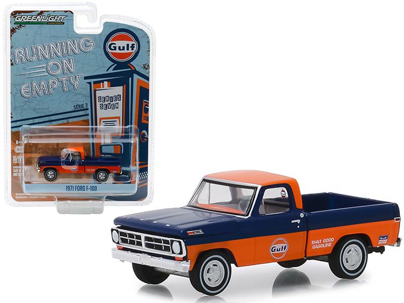 1971 Ford F-100 Gulf Oil Pickup Truck Orange Dark Blue Running on Empty Series 7 1/64 Diecast Model Car Greenlight 41070 D