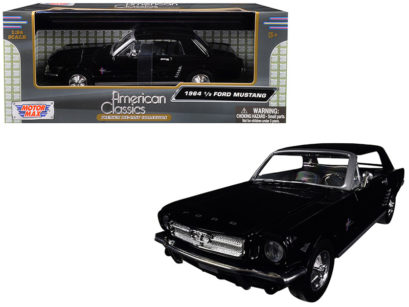 1964 1/2 Ford Mustang Black 1/24 Diecast Model Car Motormax 73273