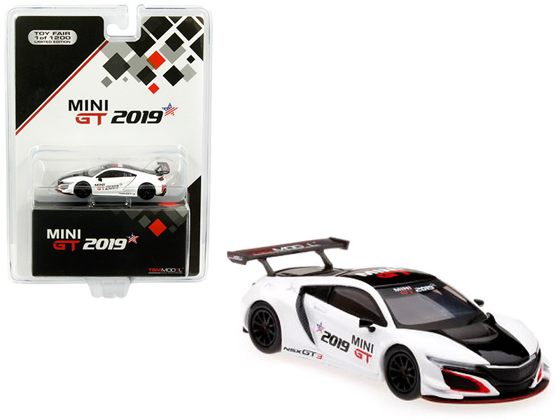 Acura NSX GT3 White Black Stripe 2019 Mini GT Limited Edition 1200 pieces Worldwide 1/64 Diecast Model Car True Scale Miniatures MGT00027