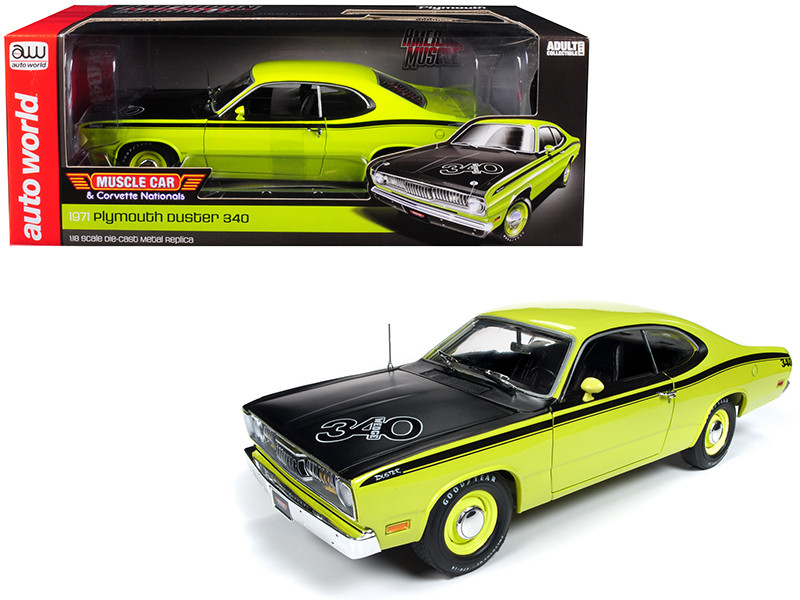 1971 Plymouth Duster 340 Hardtop Green Black Hood Muscle Car Corvette Nationals MCACN Limited Edition 1002 pieces Worldwide 1/18 Diecast Model Car Autoworld AMM1154