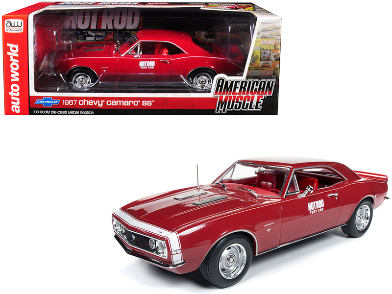 1967 Chevrolet Camaro SS Hot Rod Test Car Red White Nose Stripe Hot Rod Magazine Limited Edition 1002 pieces Worldwide 1/18 Diecast Model Car Autoworld AMM1163