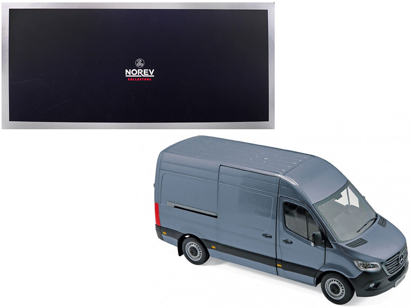 2018 Mercedes Benz Sprinter Cargo Van Blueish Gray 1/18 Diecast Model Norev 183423