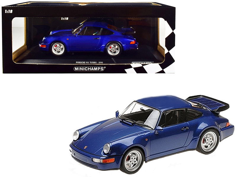 1990 Porsche 911 Turbo Metallic Blue Limited Edition 500 pieces Worldwide 1/18 Diecast Model Car Minichamps 155069101