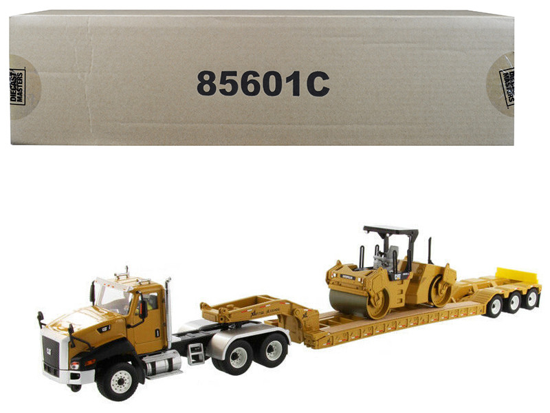 Cat Caterpillar CT660 Day Cab XL 120 Low-Profile HDG Lowboy Trailer Cat Caterpillar CB-534D XW Vibratory Asphalt Compactor Operator Core Classics Series Set 2 pieces 1/50 Diecast Models Diecast Masters 85601 C