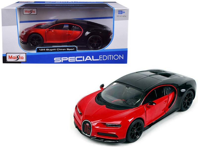 Bugatti Chiron Sport 16 Red Black Special Edition 1/24 Diecast Model Car Maisto 31524