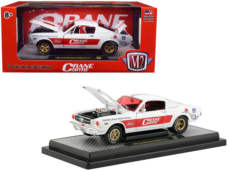 1965 Ford Mustang Fastback 2+2 Crane Cams White Red Stripes Limited Edition 5880 pieces Worldwide 1/24 Diecast Model Car M2 Machines 40300-68 A