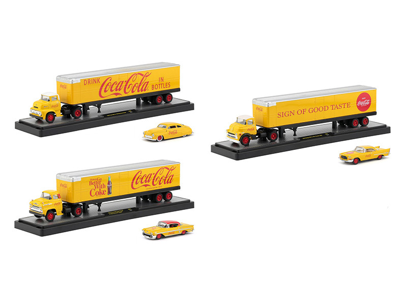 Auto Haulers Coca Cola Release Set 3 Trucks Yellow 1/64 Diecast Models M2 Machines 56000-YR01