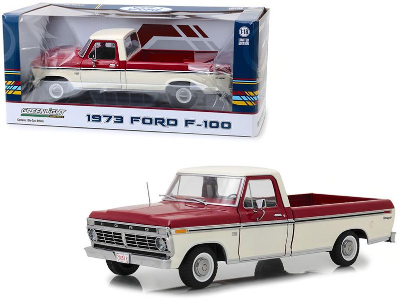 1973 Ford F-100 Ranger Pickup Truck Red Cream 1/18 Diecast Model Car Greenlight 12962