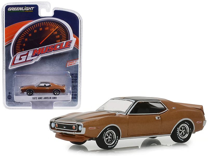 1972 AMC Javelin AMX Baja Bronze Black Stripes Greenlight Muscle Series 21 1/64 Diecast Model Car Greenlight 13230 B