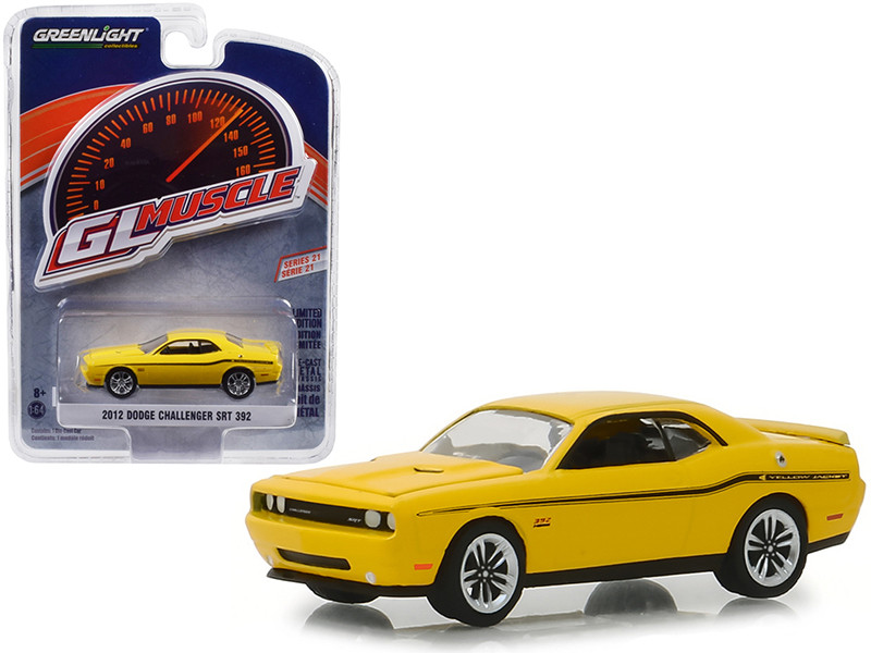 2012 Dodge Challenger SRT 392 Yellow Jacket Stinger Yellow Black Stripes Greenlight Muscle Series 21 1/64 Diecast Model Car Greenlight 13230 D