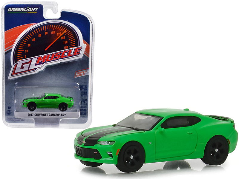 2017 Chevrolet Camaro SS Krypton Green Black Rally Stripes Greenlight Muscle Series 21 1/64 Diecast Model Car Greenlight 13230 E