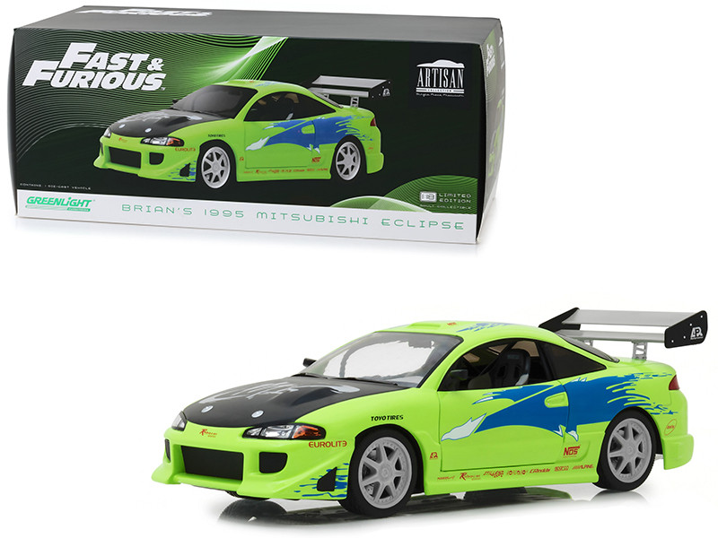 Brian's 1995 Mitsubishi Eclipse Fast and Furious 2001 Movie 1/18 Diecast Model Car Greenlight 19039