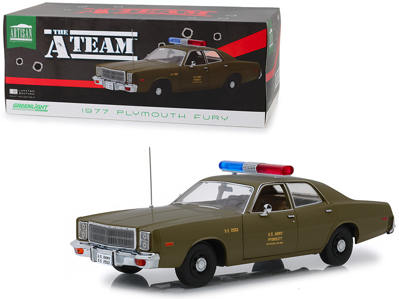 1977 Plymouth Fury US Army Police Army Green The A-Team 1983 1987 TV Series 1/18 Diecast Model Car Greenlight 19053