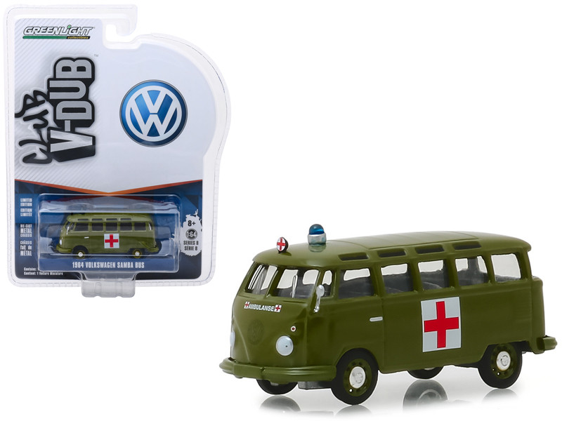 1964 Volkswagen Samba Bus Army Ambulance Army Green Vee Dub Series 8 1/64 Diecast Model Greenlight 29940 A