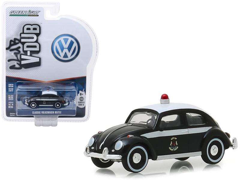 Classic Volkswagen Beetle Saint John New Brunswick Canada Police Black White Vee Dub Series 8 1/64 Diecast Model Car Greenlight 29940 F