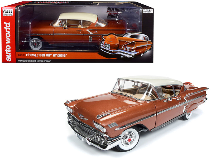 1958 Chevrolet Bel Air Impala Sierra Gold Metallic Cream Top Limited Edition 1002 pieces Worldwide 1/18 Diecast Model Car  Autoworld AMM1164