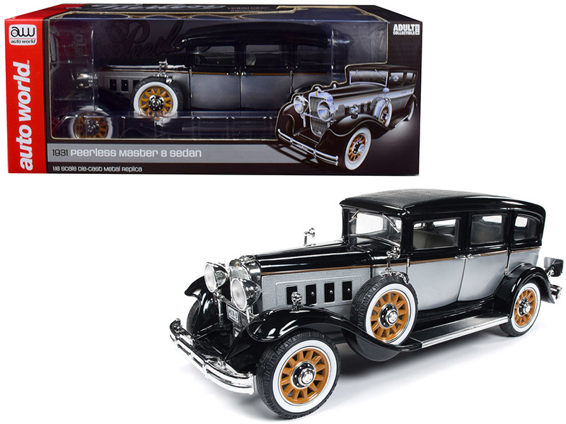 1931 Peerless Master 8 Sedan Black Silver Limited Edition 1500 pieces Worldwide 1/18 Diecast Model Car Autoworld AW252