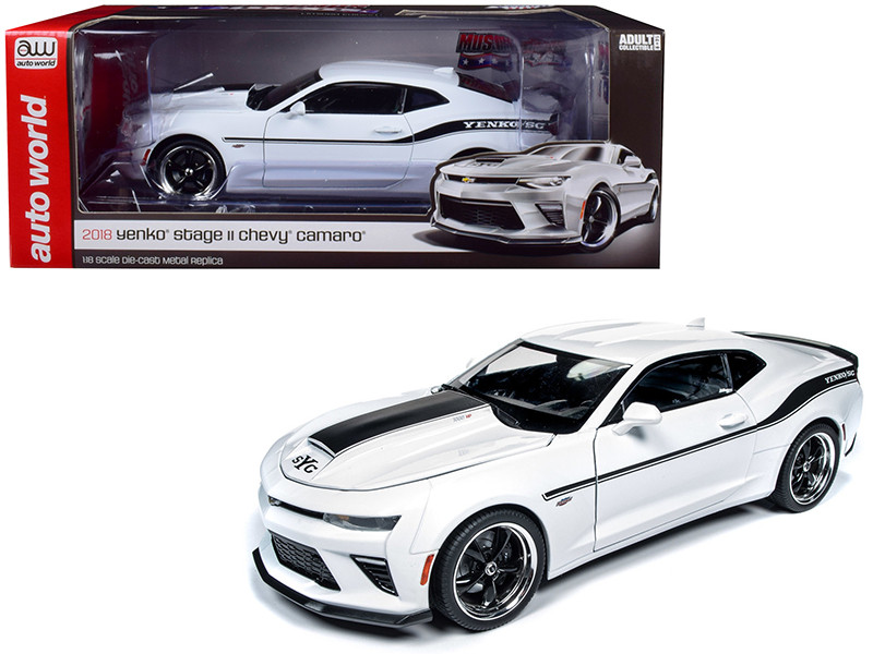 2018 Chevrolet Camaro Yenko SC Stage II Coupe White Black Stripes Limited Edition 702 pieces Worldwide 1/18 Diecast Model Car Autoworld AW253