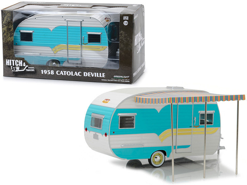 1958 Catolac DeVille Travel Trailer Blue Cream Hitch & Tow Trailers Series 5 1/24 Diecast Model Greenlight 18450 A