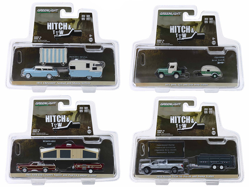 Hitch & Tow Series 16 Set 4 Cars 1/64 Diecast Models Greenlight 32160