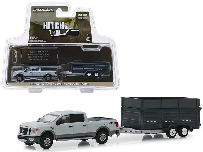 2018 Nissan Titan XD Pro-4X Pickup Truck Double-Axle Dump Trailer Gray Hitch & Tow Series 16 1/64 Diecast Models Greenlight 32160 D