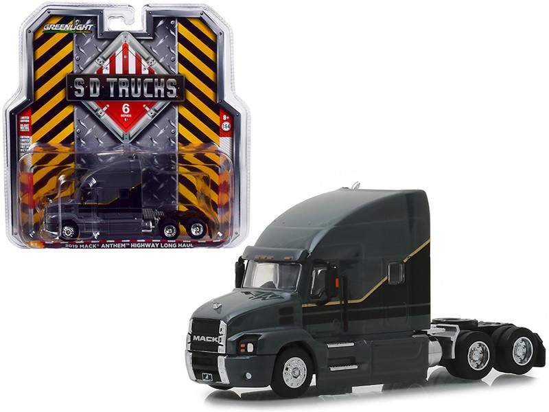 2019 Mack Anthem Highway Long Haul Truck Cab Gray Black Gold Stripes SD Trucks Series 6 1/64 Diecast Model Greenlight 45060 A