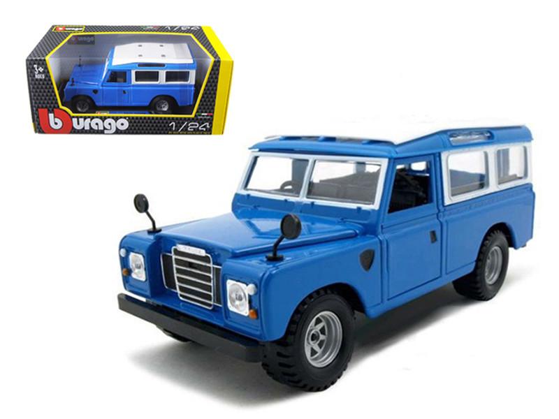 Old Land Rover Blue 1/24 Diecast Model Car Bburago 22063