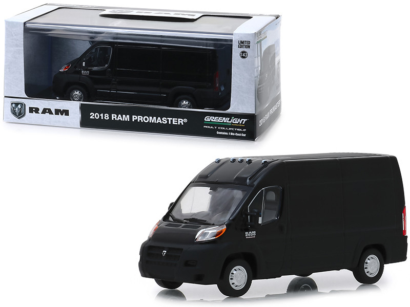 2018 Dodge Ram ProMaster 2500 Cargo Van High Roof Brilliant Black 1/43 Diecast Model Car Greenlight 86153