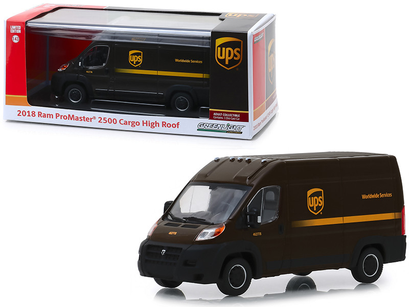 2018 Ram ProMaster 2500 Cargo High Roof United Parcel Service UPS Worldwide Services Dark Brown 1/43 Diecast Model Car Greenlight 86156