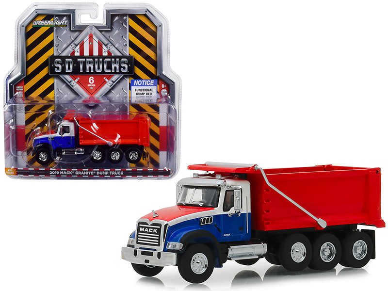 2019 Mack Granite Dump Truck Red White Blue SD Trucks Series 6 1/64 Diecast Model Greenlight 45060 B