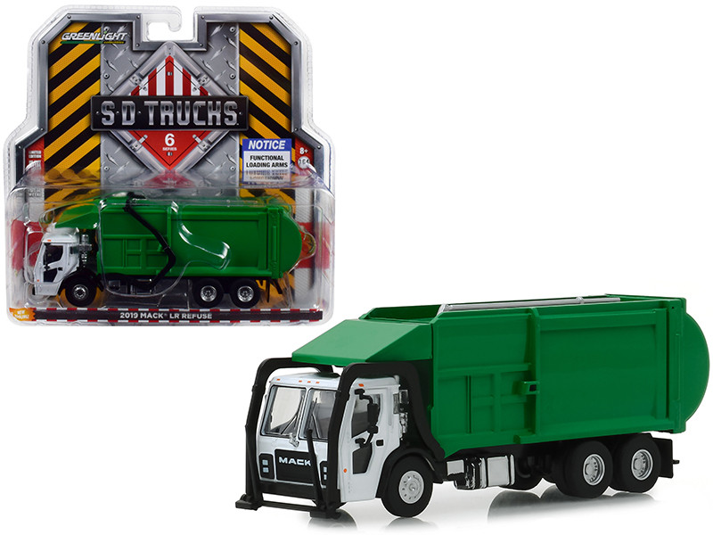 2019 Mack LR Refuse Truck White Green SD Trucks Series 6 1/64 Diecast Model Greenlight 45060 C