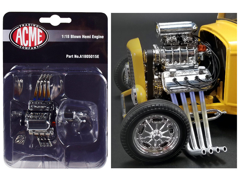 Engine and Transmission Blown Hemi Replica  1932 Ford 3 Window 1/18 Model ACME A1805015E