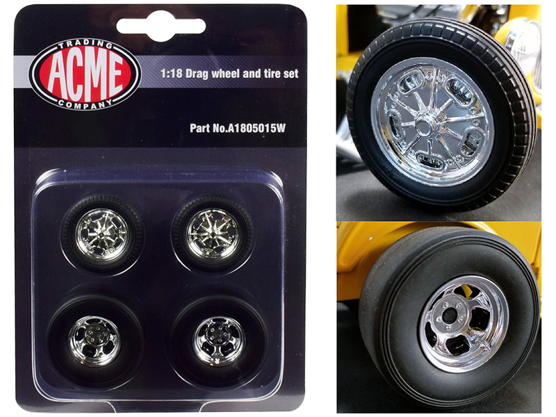 Chrome Drag Wheel and Tire Set 4 pieces 1932 Ford 3 Window 1/18 Acme A1805015W