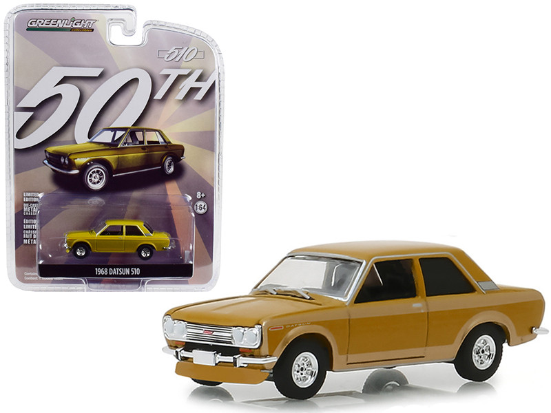 1968 Datsun 510 Metallic Yellow 50 Years Datsun 510 Anniversary Collection Series 7 1/64 Diecast Model Car Greenlight 27970 A