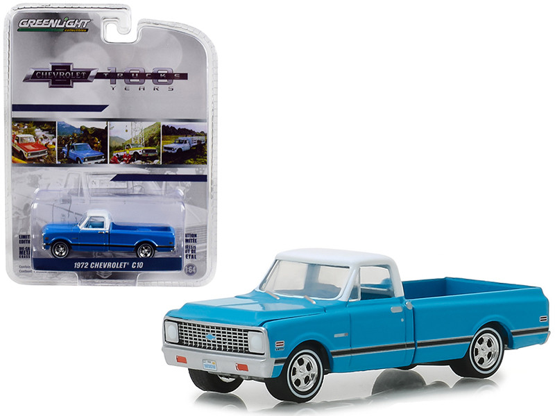 1972 Chevrolet C-10 Pickup Truck Blue White Top Black Stripes 100 Years Anniversary Chevrolet Trucks Anniversary Collection Series 7 1/64 Diecast Model Car Greenlight 27970 C