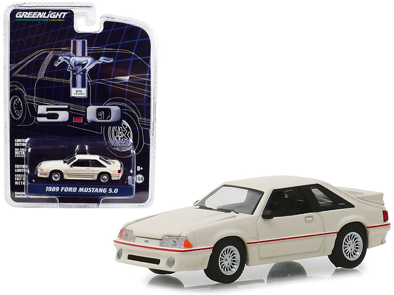 1989 Ford Mustang 5.0 Cream Red Stripe 25 Years Anniversary Collection Series 7 1/64 Diecast Model Car Greenlight 27970 E