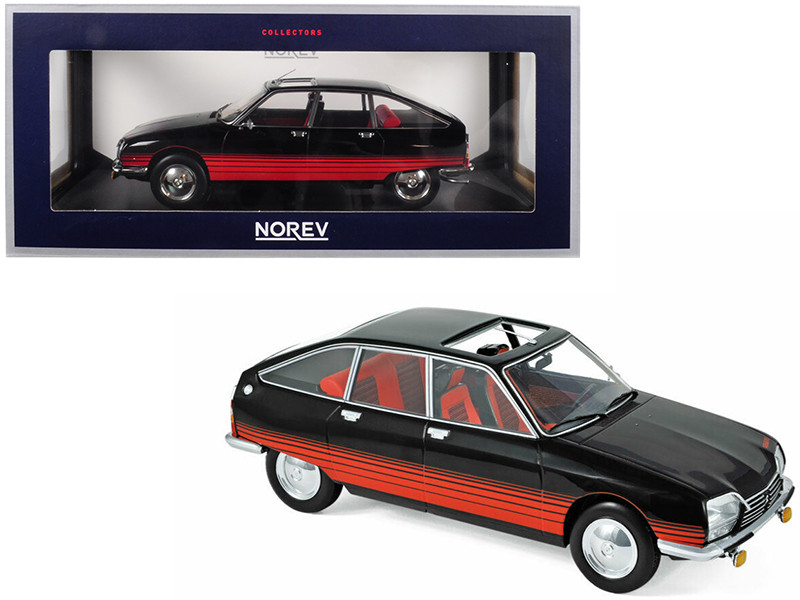 1978 Citroen GS Basalte Sunroof Open Black Red Deco 1/18 Diecast Model Car Norev 181626