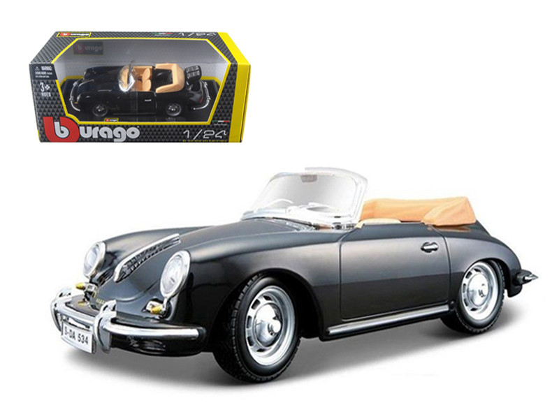 1961 Porsche 356 B Cabriolet Black 1/24 Diecast Model Car Bburago 22078