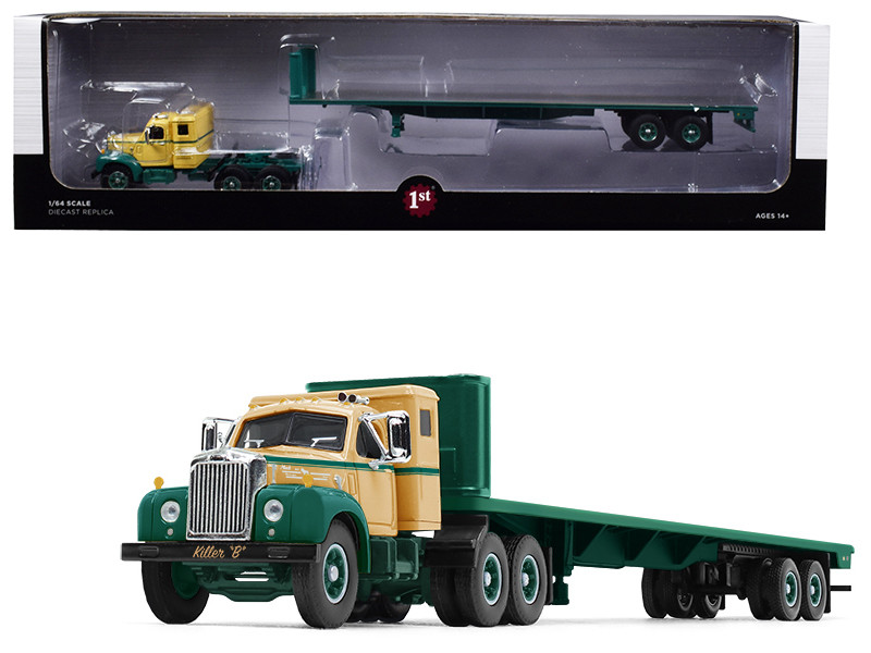 Mack B-61 Sleeper Cab 48' Flatbed Trailer Killer B Green Beige 1/64 Diecast Model First Gear 60-0496