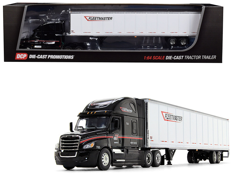 Freightliner Cascadia High Roof Sleeper Cab 53' Wabash DuraPlate Dry Goods Trailer Fleetmaster Black White 1/64 Diecast Model DCP 34234