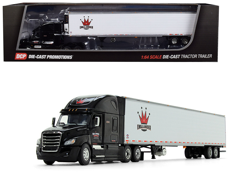 Freightliner Cascadia High Roof Sleeper Cab 53' Utility Reefer Refrigerated Ribbed Sided Trailer Englander Black White 1/64 Diecast Model DCP 34235