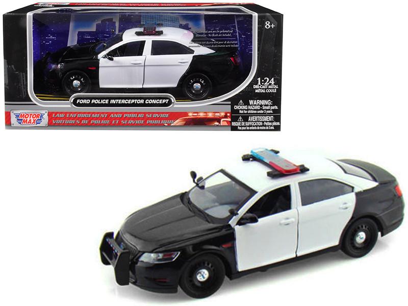 Ford Police Interceptor Concept Car Unmarked Black White 1/24 Diecast Model Car Motormax 76925