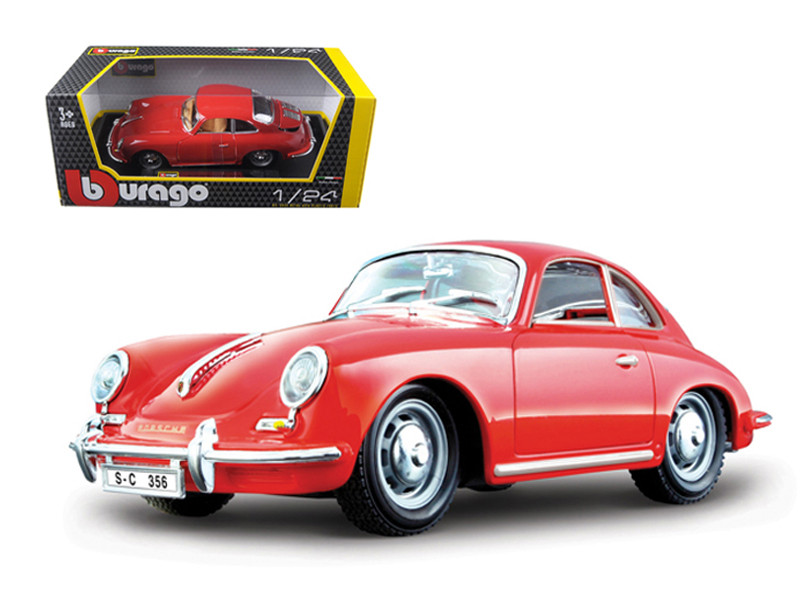 1961 Porsche 356 B Coupe Red 1/24 Diecast Model Car Bburago 22079