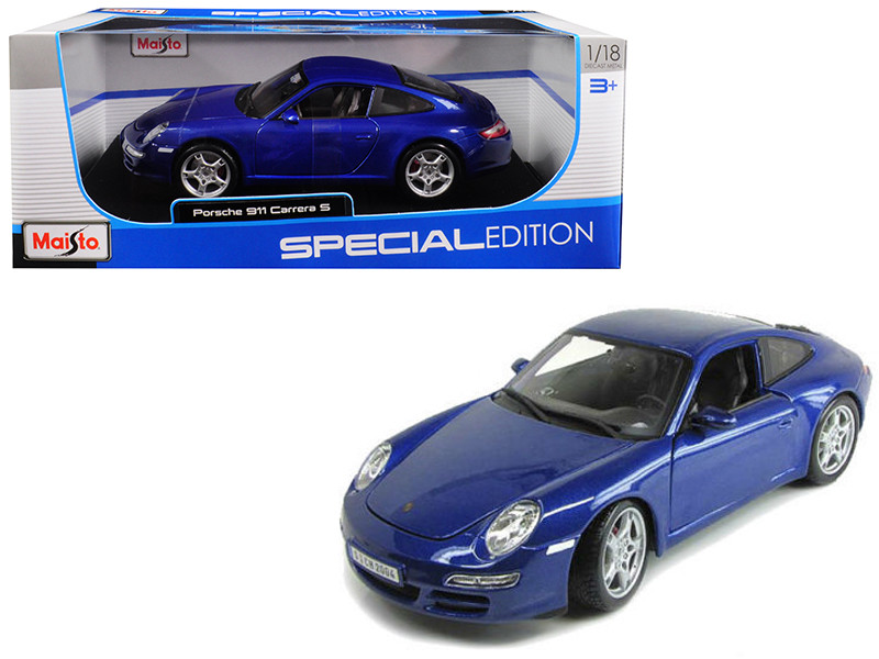 Porsche Carrera S 911 997 Blue 1/18 Diecast Model Car Maisto 31692