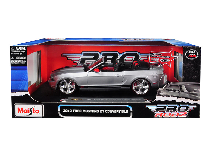 2010 Ford Mustang GT Convertible Silver Pro Rodz 1/18 Diecast Model Car Maisto 31337